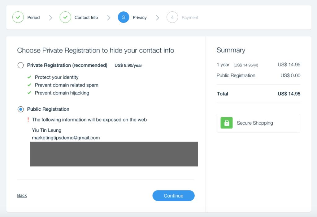 private-registration-option